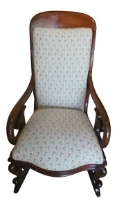 Antique Mahogany Brown Victorian Rocking Chair Wood & Fabric 1800-1899 England