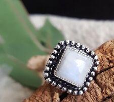 Blue Flash Moonstone Ring 925 Antique Boho Framed  Sterling Silver  size 8 US
