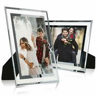 2PCS 4x6 Glass Picture Frame Silver Mirrored for Photo Display Stand on Tabletop
