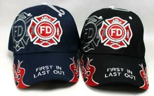 Fireman Cap Fire Fighter Dept Hat First In Last Out First Responder Flames FILO