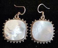 """7/8"""" Square Mother of Pearl Earrings 925 Sterling Silver Drop Handmade - MSBQ"""