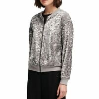 DKNY NEW Women's Sequined Velour Bomber Jacket Top TEDO