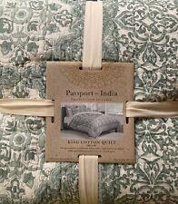 Passport To India Floral Medallion Stitch King Quilt Cotton Boho Quilt Green
