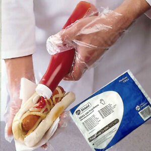 100 Clear Plastic Disposable Gloves Food Safe Power Free Catering Butcher Medium
