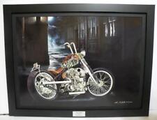Indian Larry Chain Bobber Ltd Edition Signed Framed Motorcycle Art Print by JG