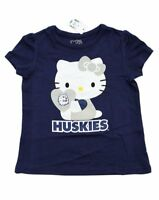 NEW GIRLS TODDLERS HELLO KITTY T-SHIRT HUSKIES HEART BLUE UCONN SHIRT TOP