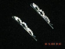 Silver Hairpin Flowers with Clear Rhinestones