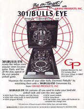 301 BULLS EYE BALLY CONVERSION ORIGINAL PINBALL MACHINE SALES FLYER BROCHURE '84