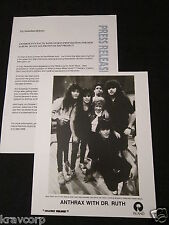 Anthrax—1988 Press Release W/Photo