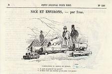 Gravure ancienne 1880   Nice et ses environs par Stop  XIXème