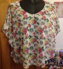 MISS SELFRIDGE MULTI COLOURED FLORAL BATWING TOP  - SIZE 10