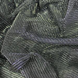 SILVER/BLACK Lurex Metallic Mesh Fabric Sold Per Metre Stage Costumes -KBT9547