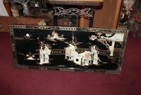 Chinese Japanese Wood Panel Mother Of Pearl Women Children Large