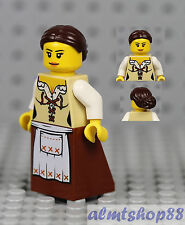 LEGO - Minifigure Brown Apron Dress Brown Knot Bun Hair Peasant Girl Maid Castle
