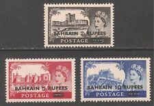 Bahrain #96-98 (A133) VF MINT NH - 1955 Queen Elizabeth II Castles Surchared