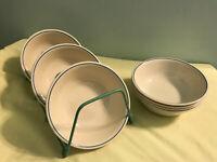 Set of 7 Vintage Corelle Fruit Mix Cereal Soup Bowls Single Blue Stripe EUC
