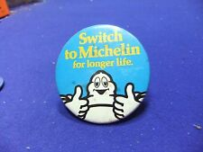tin badge motor car advert michelin tyres bibendum longer life advertising 70s