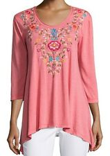 NWT JOHNNY WAS TUSCANY TUNIC TOP 3/4 SLEEVE TRAPEZE HEM TEE CORAL SZ XL