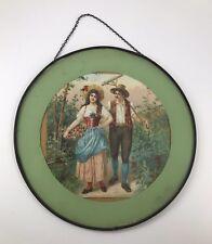 VINTAGE DECORATIVE FLUE COVER WITH MAN & WOMAN FARMER