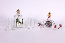 HOLMEGAARD 2 Sets Danish Royal & Jingle Bells Christmas Bottle & Glasses VINTAGE