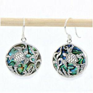 Women Silver Turtle Dangle Earrings Abalone Shell Jewelry Hook Hoop Real