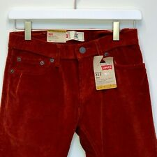 Levi's 511 Boys Slim Fit Burnt Henna Red Corduroys Size 12