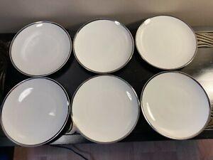 THOMAS OF GERMANY 6 X PORCELAIN THICK PLATINUM BAND TEA PLATES