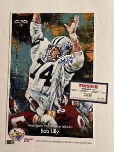 Bob Lilly & Robert Hurst Signed 11 x 17 Print Tristar COA Dallas Cowboys