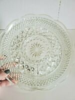 "Vintage Clear Cut Glass Round Serving Tray Dish Platter 11"" Scalloped"