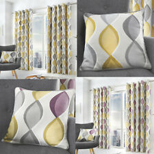 LENNOX Geometric Ogee Print Lined Ready Made Eyelet Top/Ring Top Curtains Pair