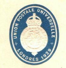 GB UPU Congress 1929 PUC Official Embossed Card SUPERB CACHET {samwells} K79