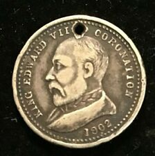 1902 Shire of Mortlake Medallion King Edward Coronation , Holed Silver.