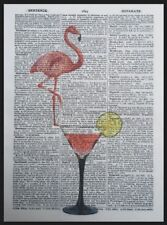 Pink Flamingo Print Vintage Dictionary Page Wall Art Picture Cocktail Glass Bar