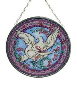 Glass Masters 1987 Doves Birds Stained Glass Suncatcher Light Catcher Art Glass