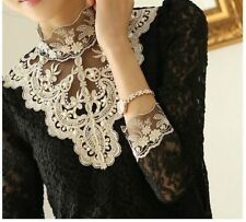 VTG Black Gold Bib Lace Crochet Pearl Victorian long sleeve blouse top S uk 8 10