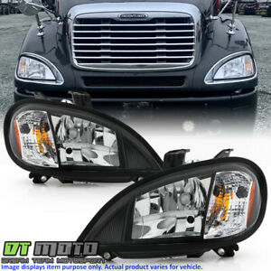 2004-2017 Freightliner Columbia Black Headlights Headlamps Pair Set Left+Right