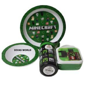 Minecraft Kids Gift Set Of 2 Nested Snack Pots Dinner Bowl Plate & Water Bottle
