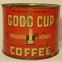 Vtg 1940s GOOD CUP COFFEE TIN ONE POUND GRAPHIC E.R. GODFREY MILWAUKEE WISCONSIN