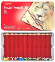 36 Brilliant Colours! Derwent PASTEL Pencils in Tin Art Students Colouring Books