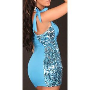 Sexy une Épaule Mini Robe de Party Avec Paillettes Turquoise 34/36/38 #MK1349