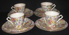 ~4 RARE Royal Winton FIREGLOW Hastings Tea Cup & Saucer Sets 1930s~