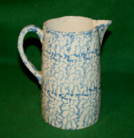 "Vintage 9""H Farmhouse Blue Kitchen Spongeware Stoneware Pottery Pitcher Inv#BM04"