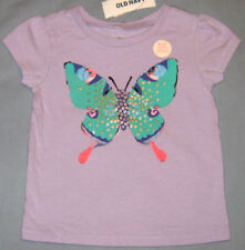 New OLD NAVY Size 6-12 Months Light Purple Butterfly Short Sleeves Tops ~ Shirt