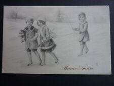 FANTAISIES Enfant old postcard vintage fantasy fillettes hiver nounours manteaux