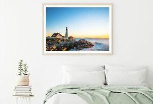House & Light House Near Sea View Print Premium Poster High Quality choose sizes