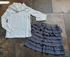 NWT Gymboree Sz 9 TRES FABULOUS Winter White Top Gray Ruffle Skirt Black Shoes 2