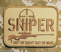 SNIPER OUT OF SIGHT MIND USA ARMY MILITARY TACTICAL DESERT VELCRO MORALE PATCH