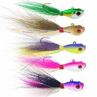 5PCS Bucktail Jig Fluke Lures Jigging Lure Saltwater Bass Fishing Lure 1/4-2oz