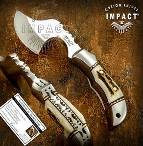 IMPACT CUTLERY RARE CUSTOM D2 FULL TANG CLEAVER AXE CHOPPER KNIFE STAG ANTLER