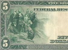 LARGE 1914 $5 DOLLAR BILL FEDERAL RESERVE BANK NOTE CURRENCY OLD PAPER MONEY VF
